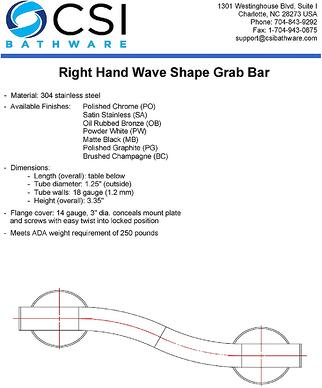 New Wave Shaped Grab Bar Specifications