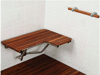 Teak shower seat & teak grab bar combo